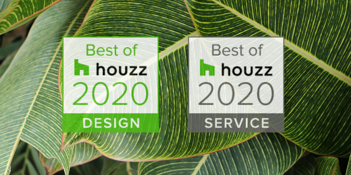 Best of Houzz Badges 2020 Design & Service on a leafy green background